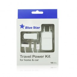 CARICABATTERIE 4 in 1 iPhone 3G 4 5 6 7 8 X SAMSUNG Tab/Micro USB 1A Nuovo Blue Star