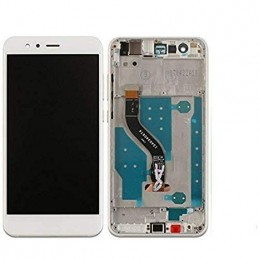 TOUCH SCREEN VETRO + LCD DISPLAY CON FRAME Per Huawei P10 Bianco