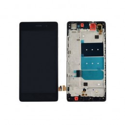 TOUCH SCREEN VETRO + LCD DISPLAY CON FRAME Per Huawei P10 Nero